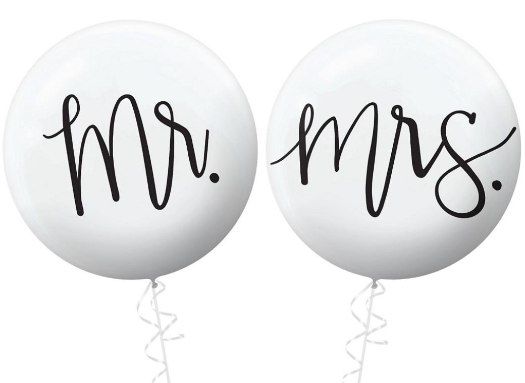 60cm Balloons - Mr & Mrs
