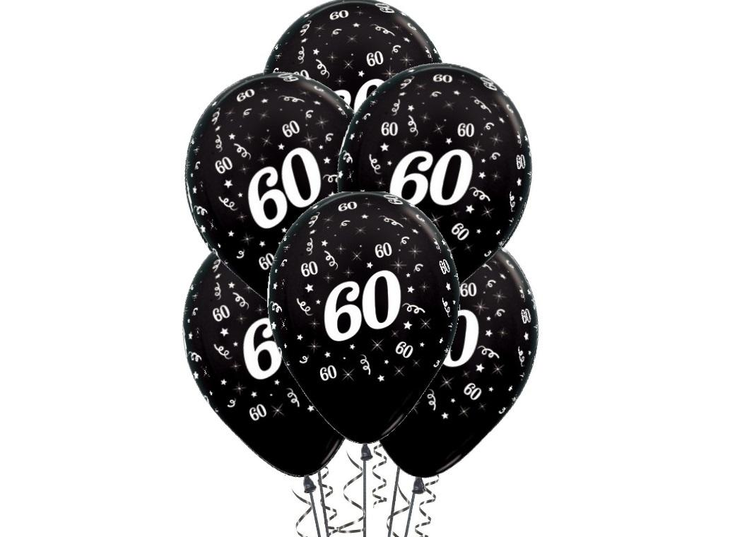 60th Birthday Balloons - Black 6pk