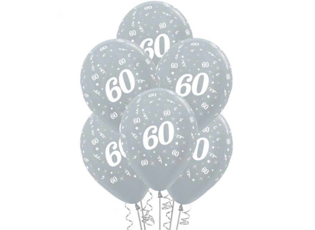 60th Birthday Balloons - Silver 6pk