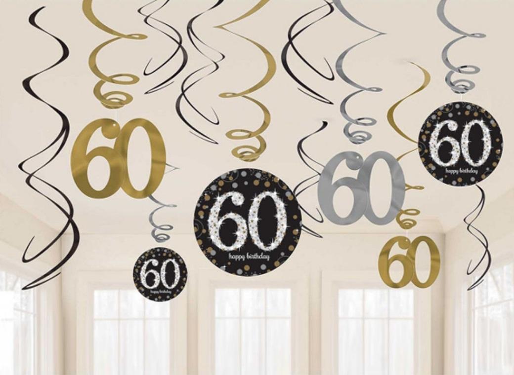Sparkling 60th Birthday Hanging Swirls