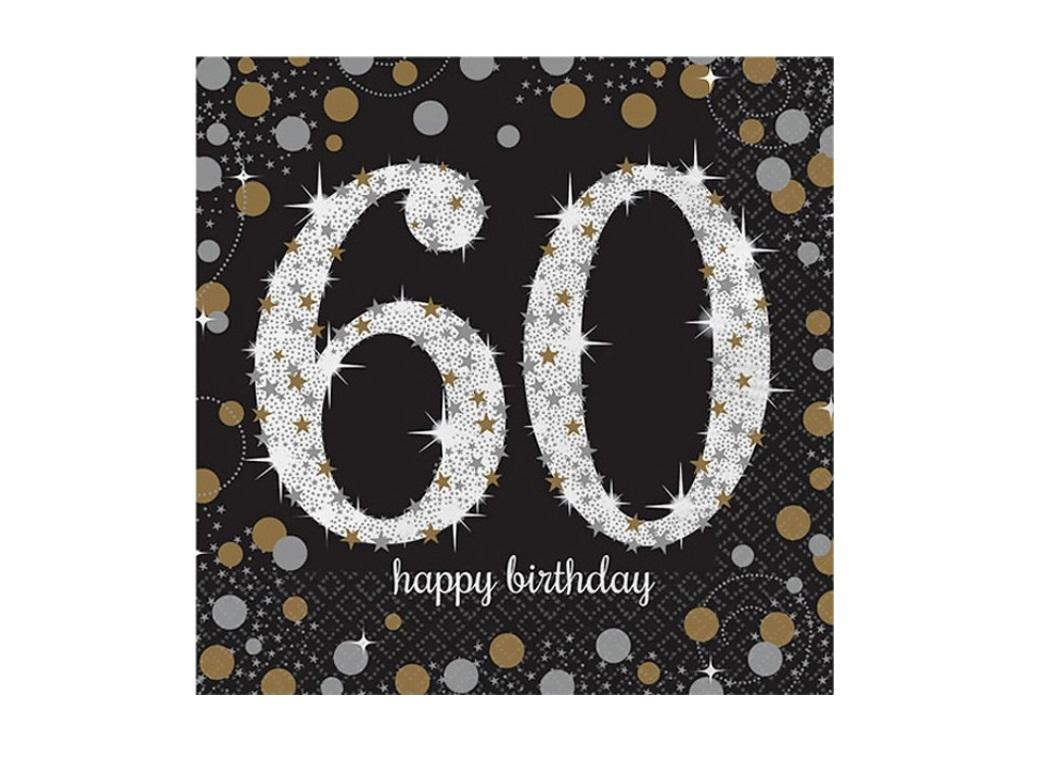 Sparkling 60th Birthday Lunch Napkins 16pk