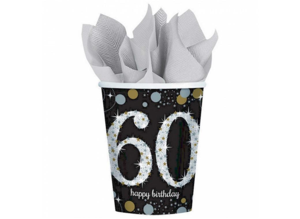 Sparkling 60th Birthday Cups 8pk