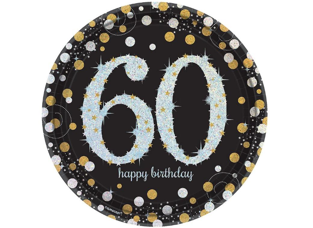 Sparkling 60th Birthday Plates 8pk