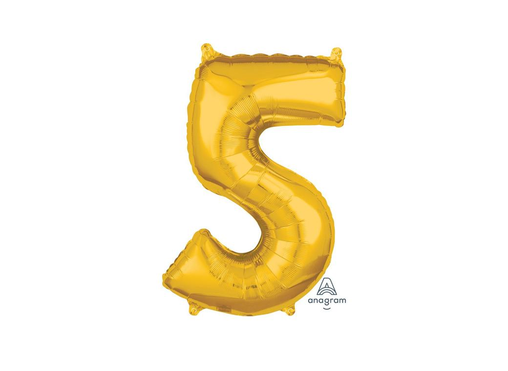 66cm Gold Number Balloon - 5