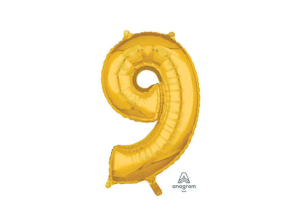 66cm Gold Number Balloon - 9