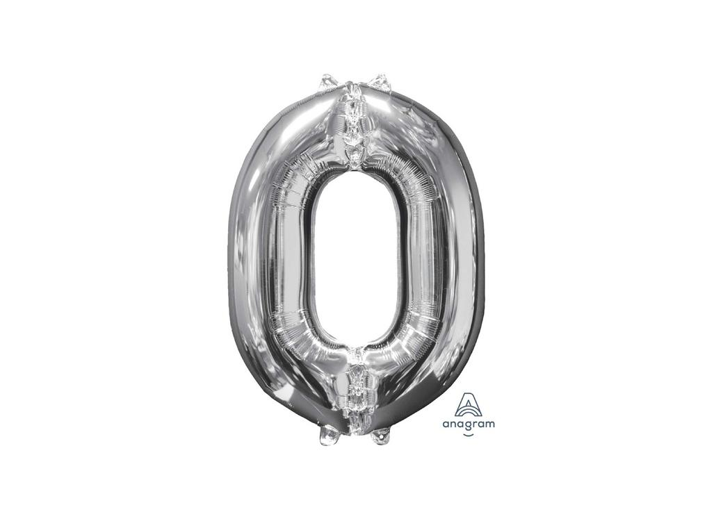 66cm Silver Number Balloon - 0