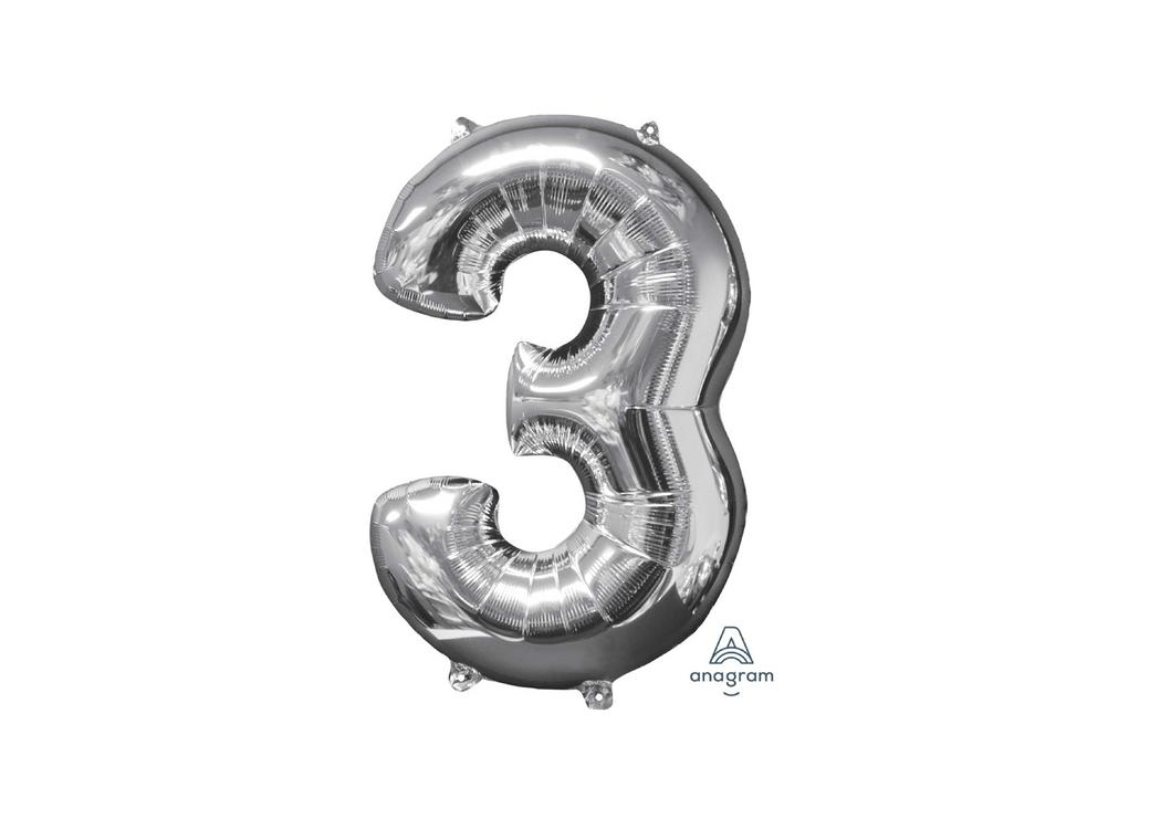 66cm Silver Number Balloon - 3