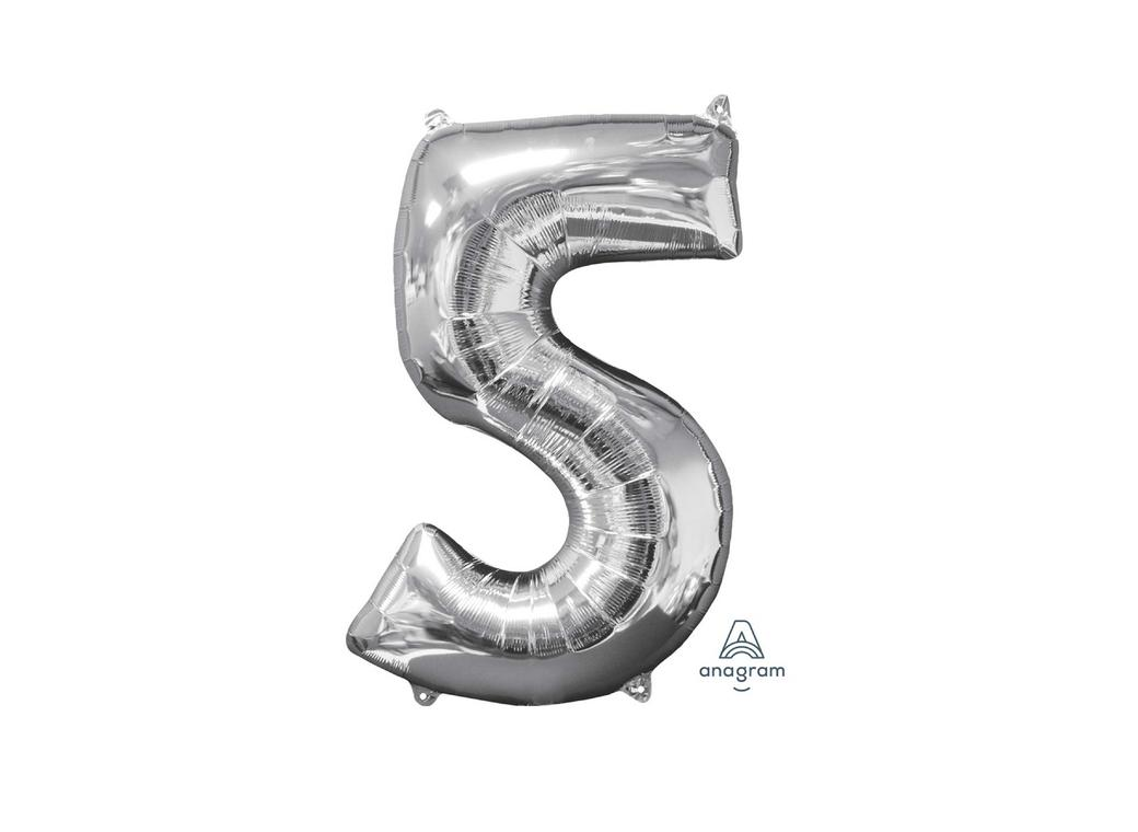 66cm Silver Number Balloon - 5
