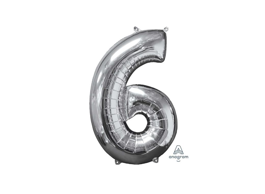 66cm Silver Number Balloon - 6