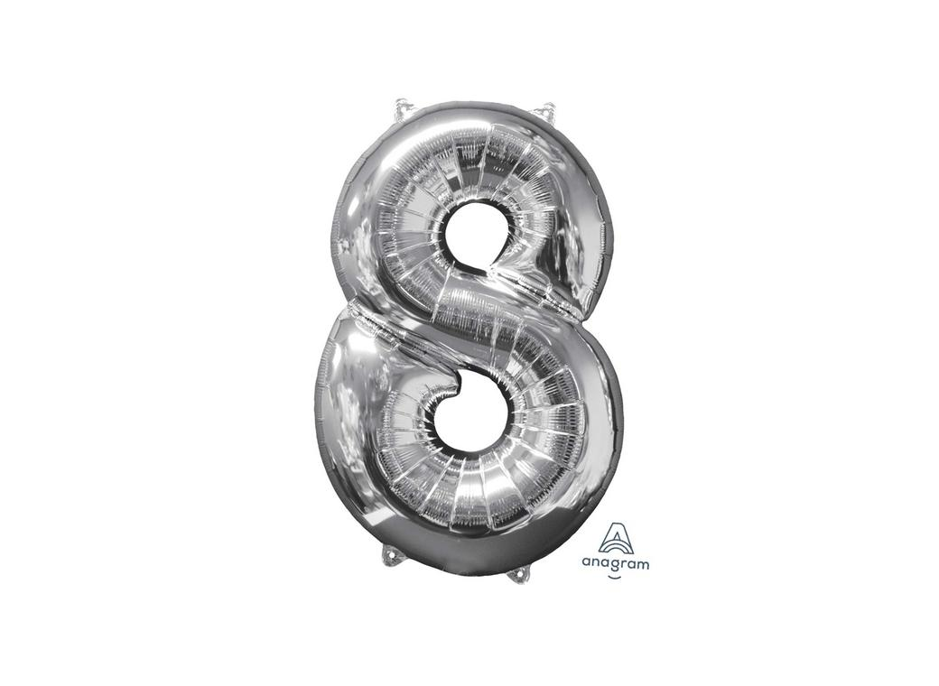 66cm Silver Number Balloon - 8