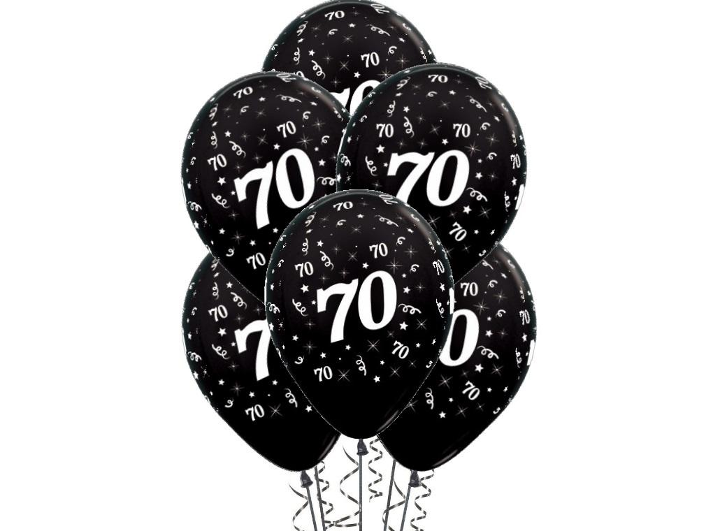70th Birthday Balloons - Black 6pk