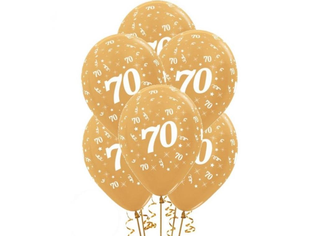 70th Birthday Balloons - Gold 6pk