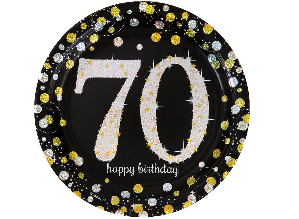 Sparkling 70th Birthday Plates 8pk