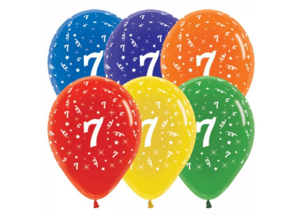 7th Birthday Balloon - Crystal