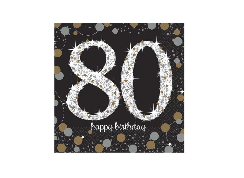 Sparkling 80th Birthday Beverage Napkins 16pk