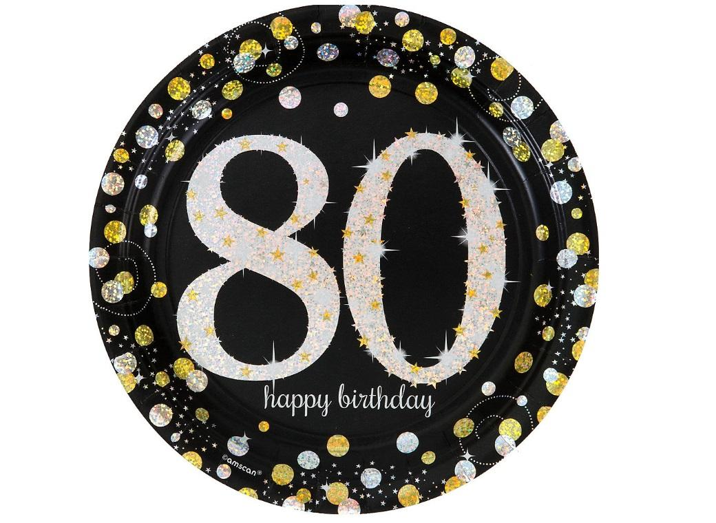 Sparkling 80th Birthday Plates 8pk