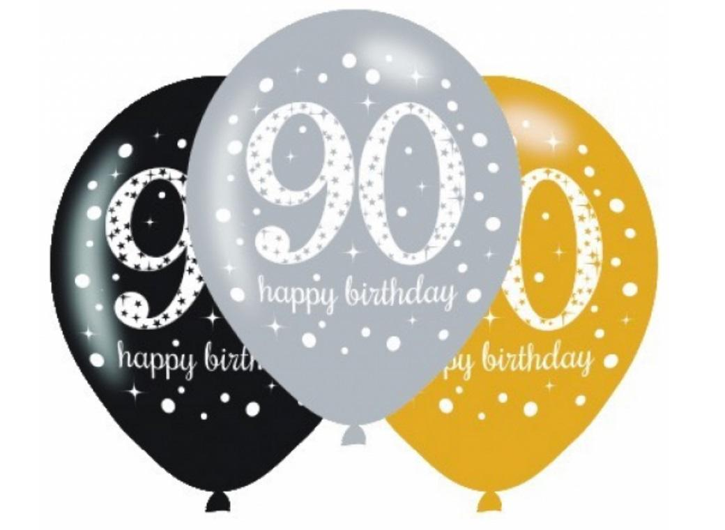 Sparkling 90th Birthday Balloons 6pk