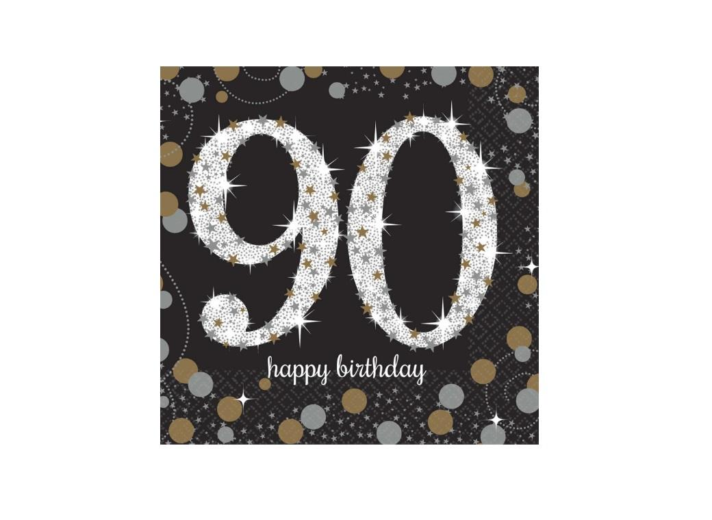 Sparkling 90th Birthday Beverage Napkins 16pk