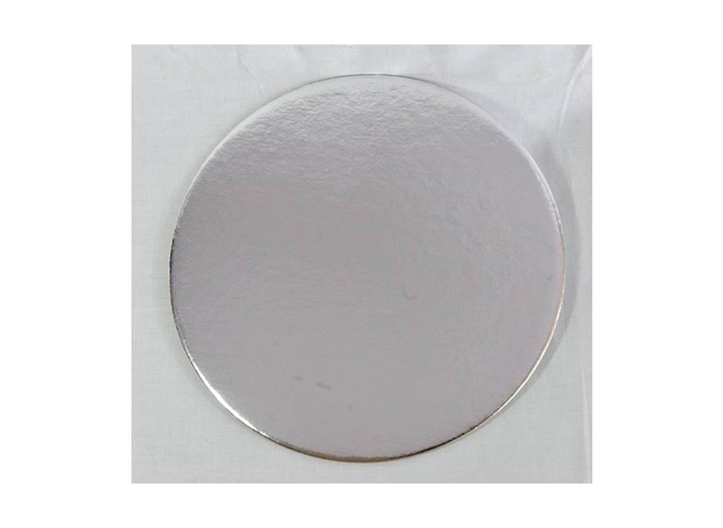 "Cake Card 2mm - 9"" Round Silver"