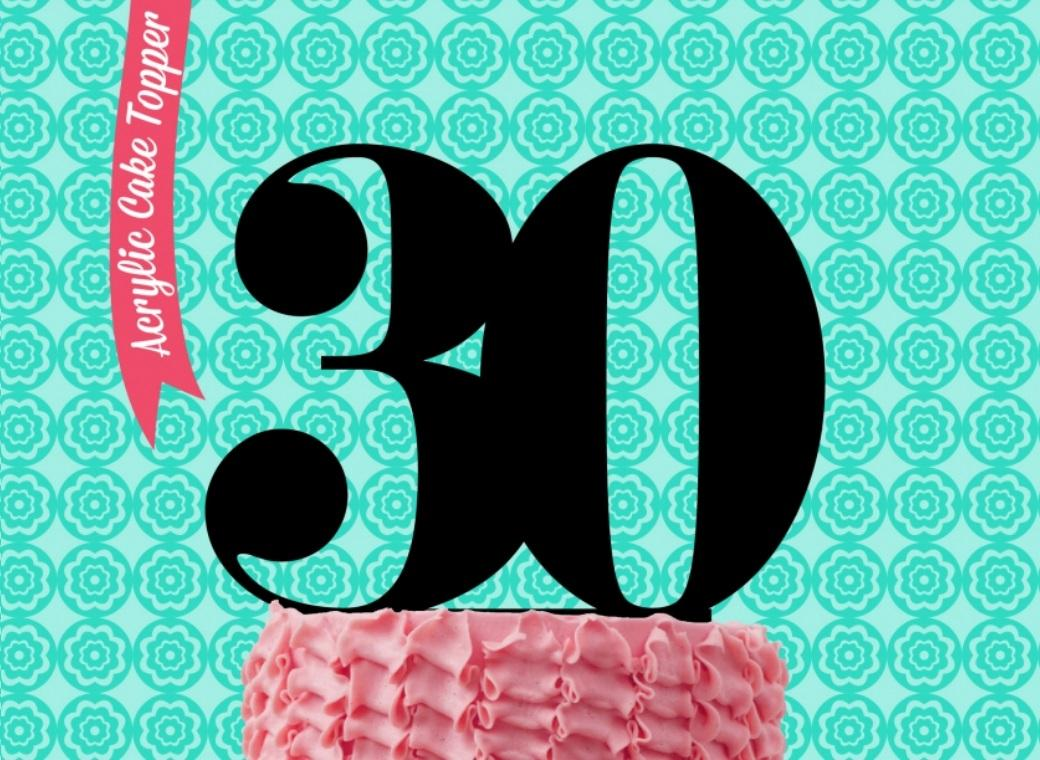 Sugar Crafty Acrylic Cake Topper - 30