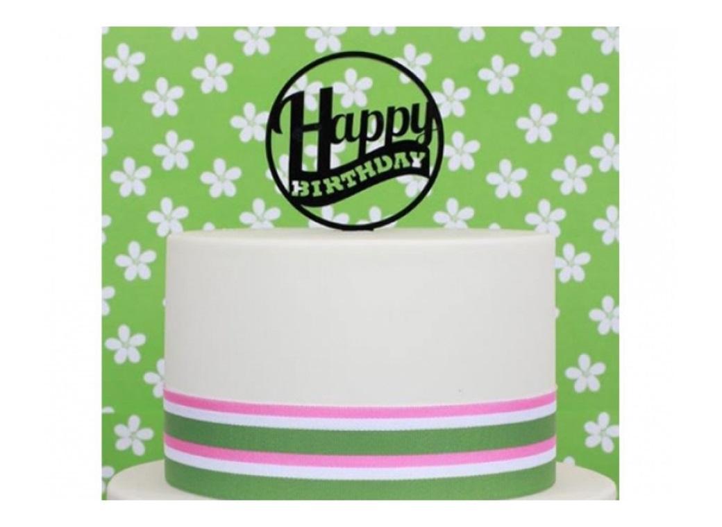 Sugar Crafty Acrylic Cake Topper - Happy Birthday