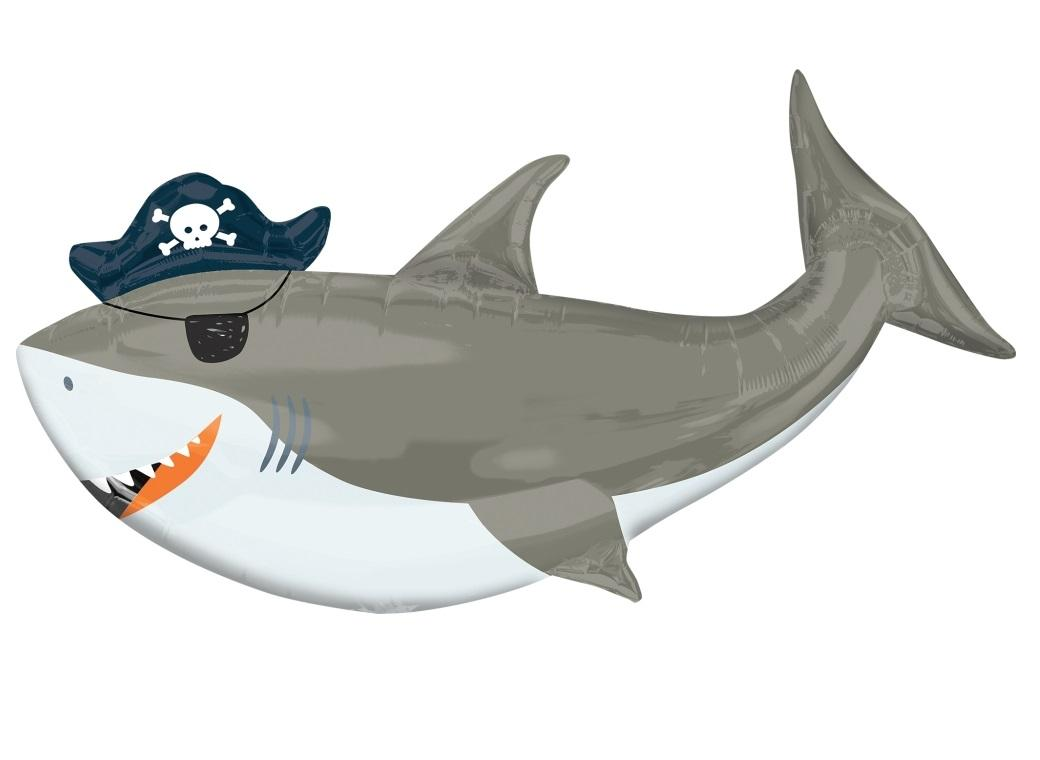 Ahoy Pirate Shark SuperShape Foil Balloon