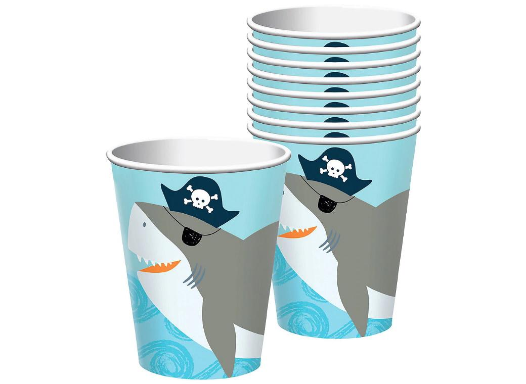 Ahoy Pirate Shark Cups 18pk