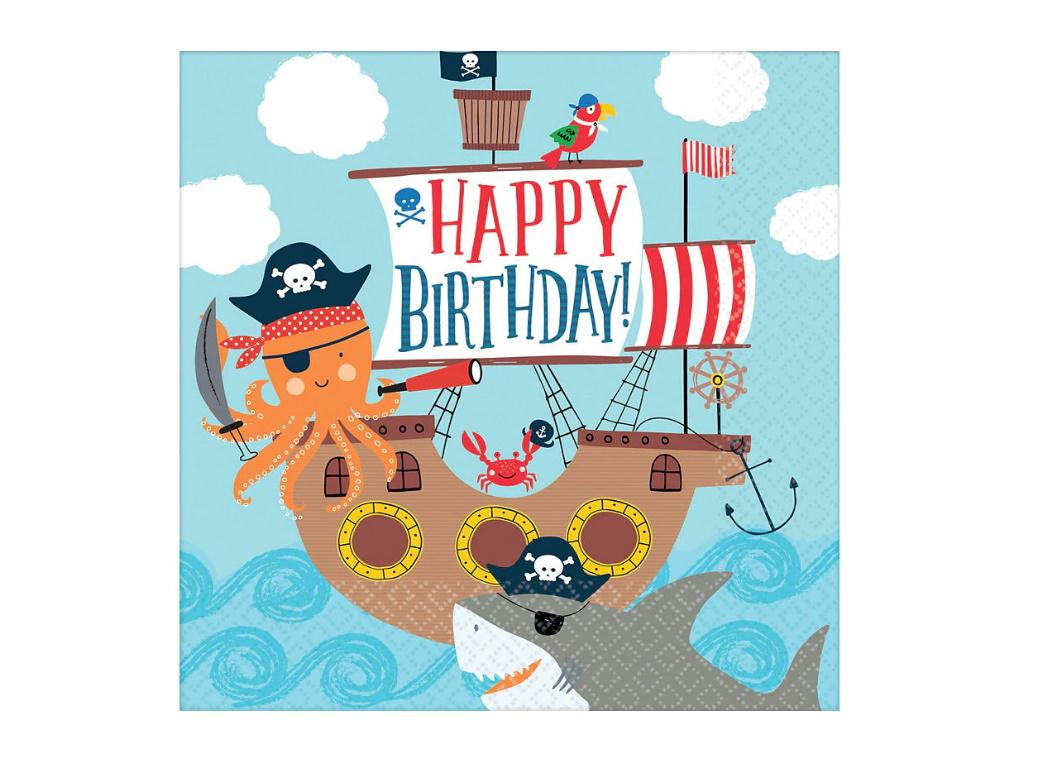 Ahoy Pirate Shark Lunch Napkins 36pk