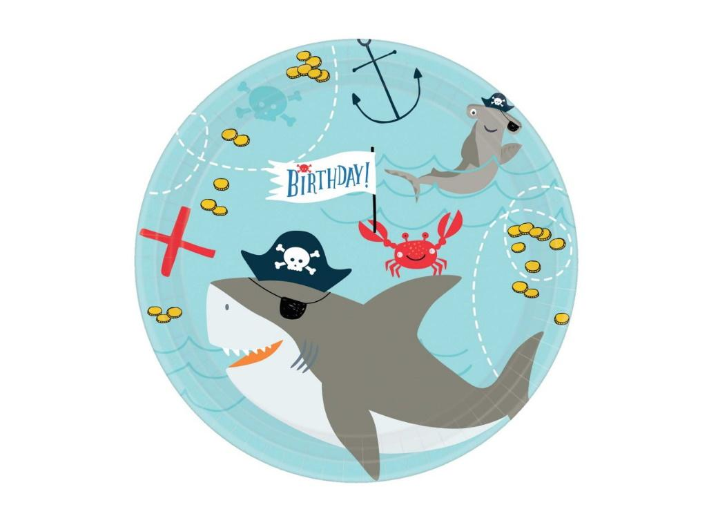 Ahoy Pirate Shark Lunch Plates 18pk