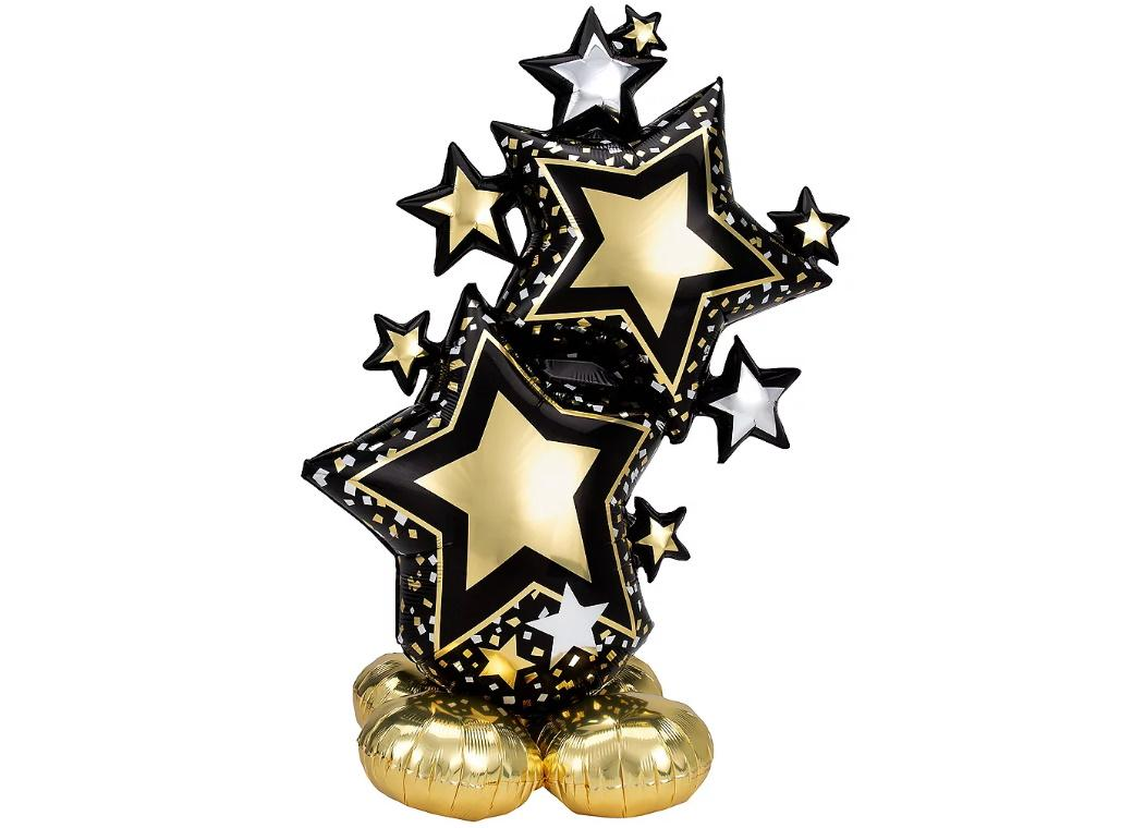AirLoonz Black & Gold Stars Foil Balloon