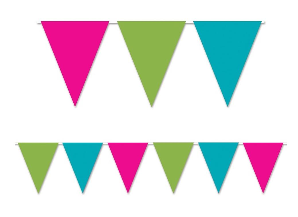 All Weather Bunting Flags - Cerise, Lime, Turquoise