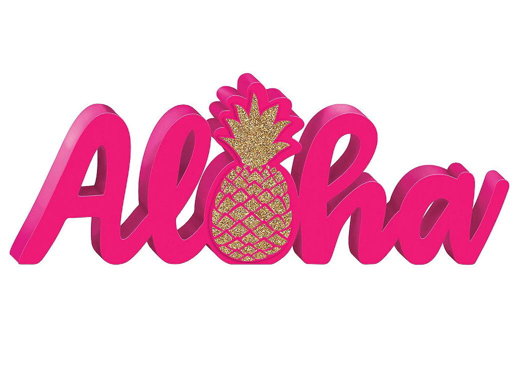 Aloha Glittered Word Sign