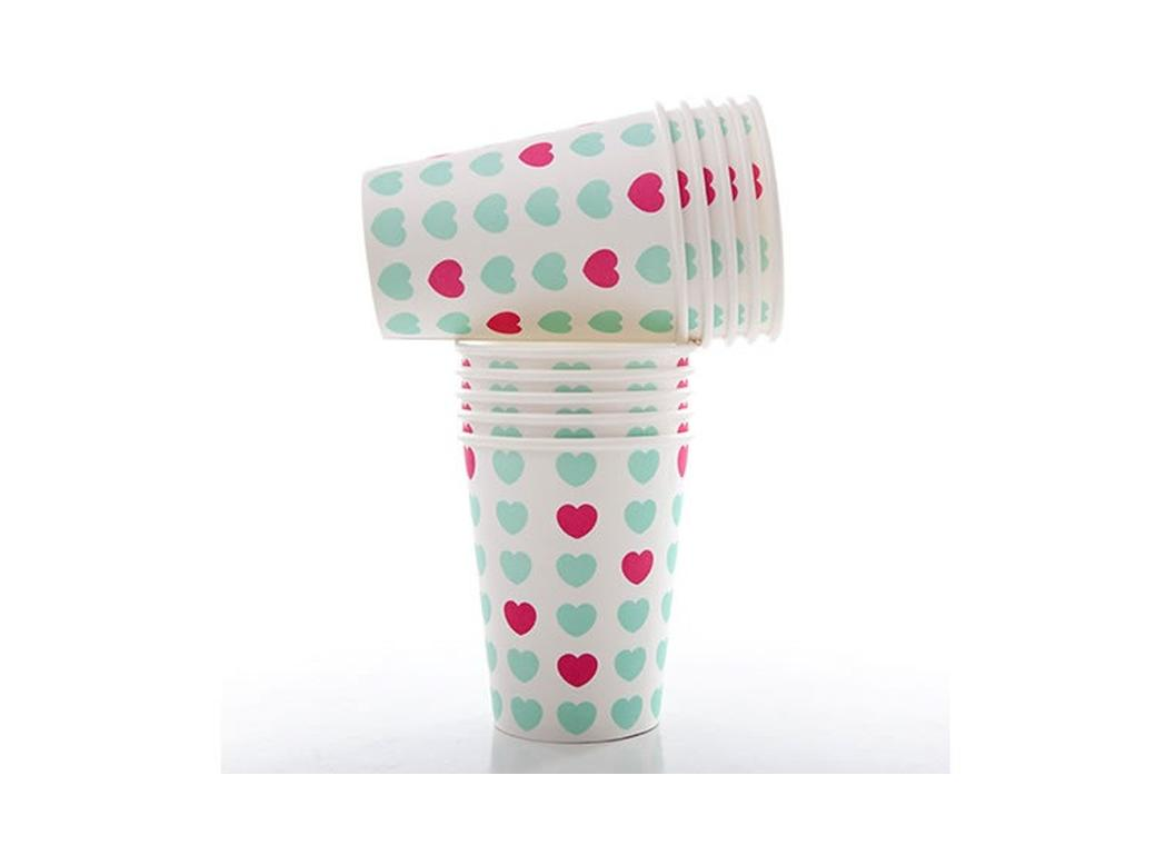 Sweetheart Paper Cups Aqua & Pink - 10pk