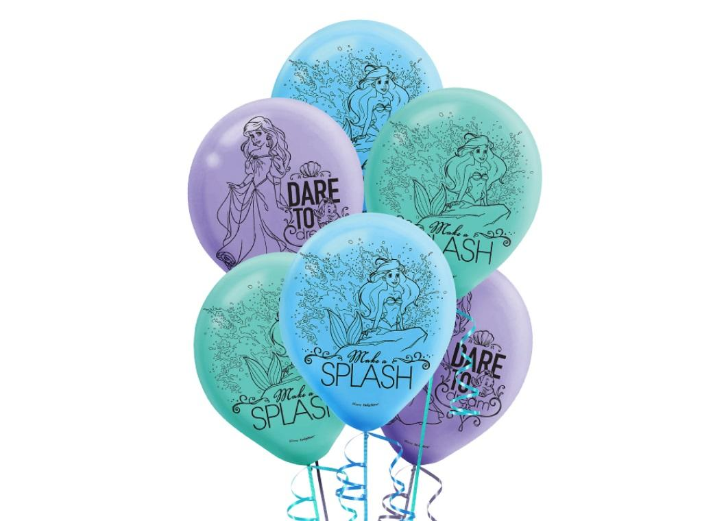 The Little Mermaid Balloons - 6pk