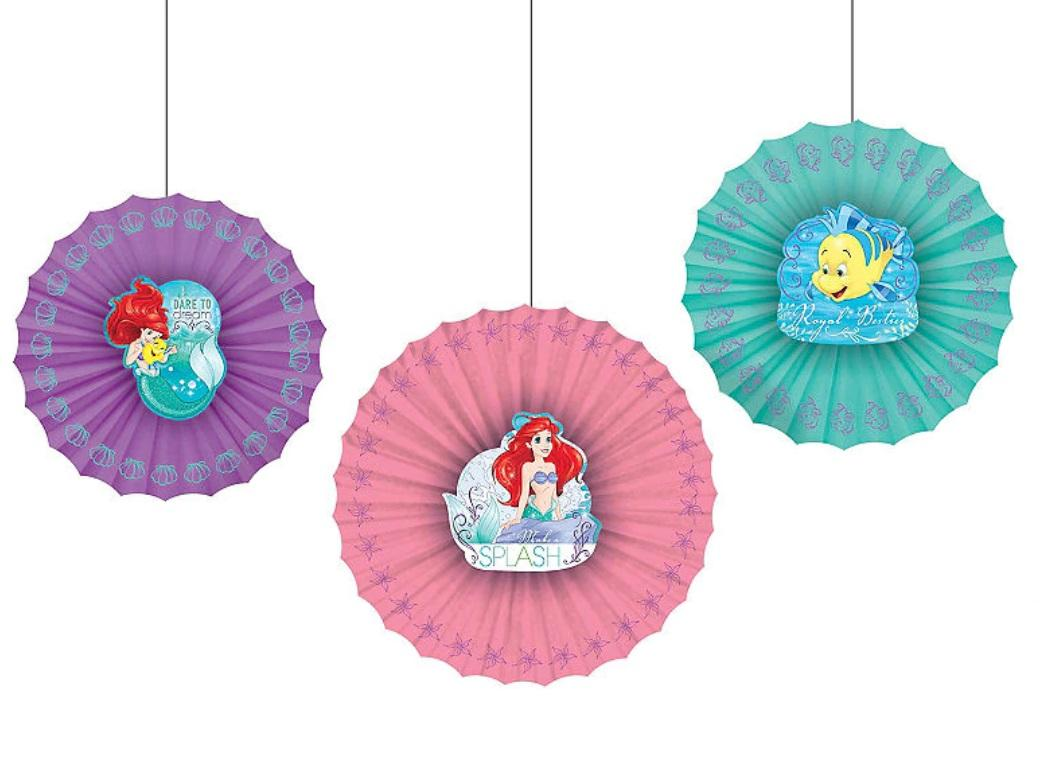 Ariel Paper Fan Decorations 3pk