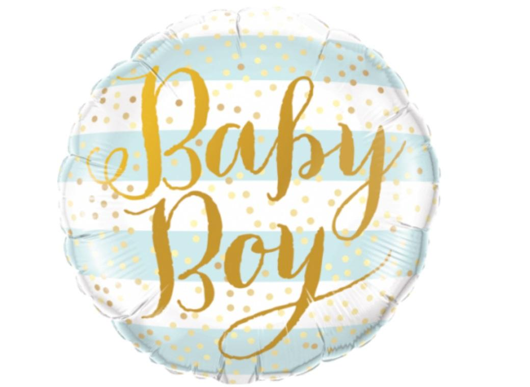 Baby Boy Blue Stripes Foil Balloon