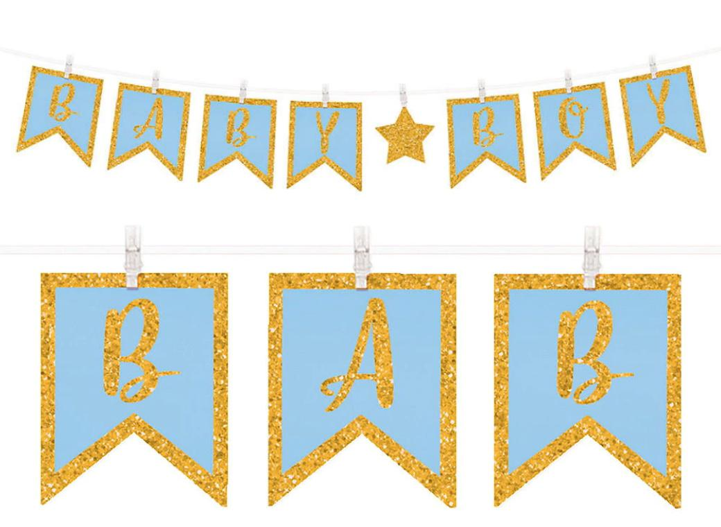 Baby Boy Clothes Peg Glitter Banner