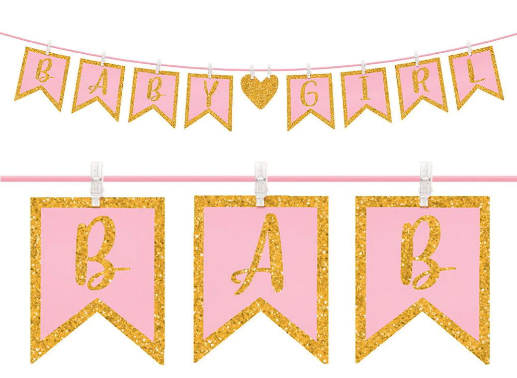 Baby Girl Clothes Peg Glitter Banner