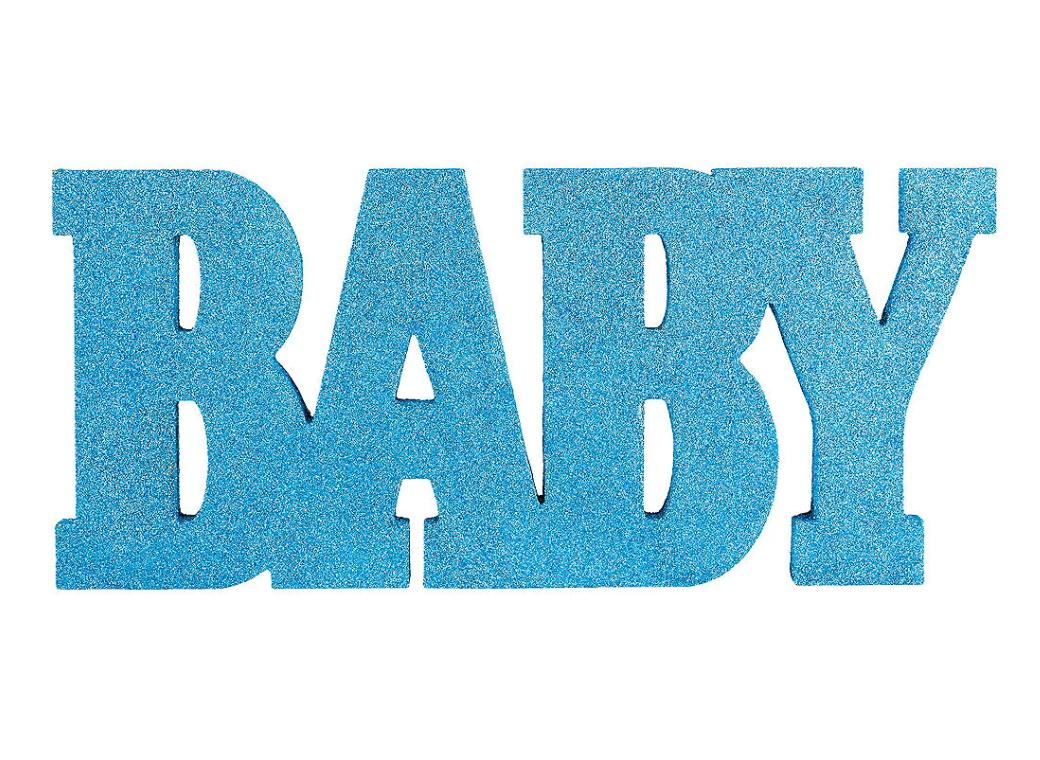 Baby Glittered Word Sign - Blue