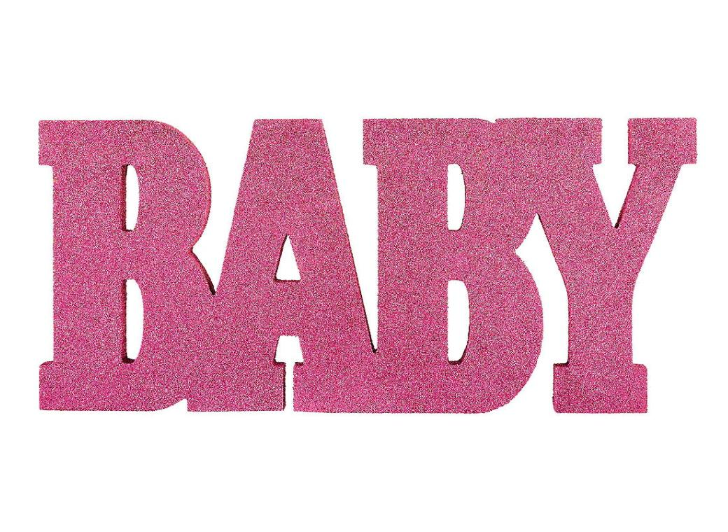 Baby Glittered Word Sign - Pink
