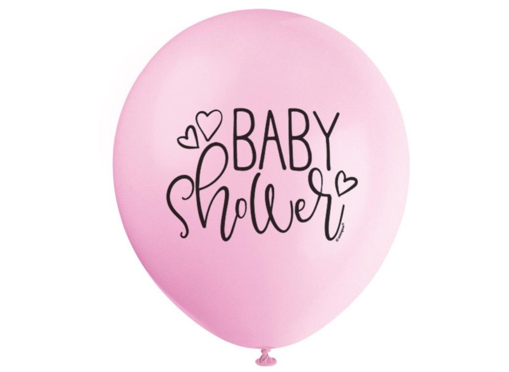 Pink Baby Shower Balloons 8pk