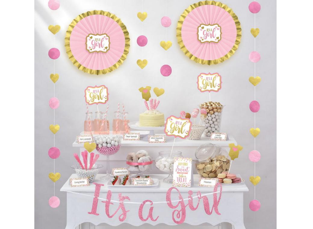 Baby Shower Treat Table Decorating Kit - Pink
