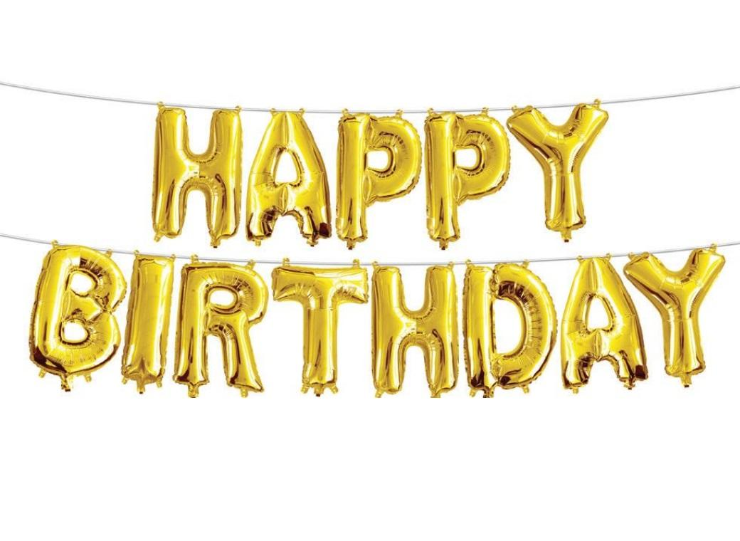 Balloon Banner Kit - Gold Happy Birthday