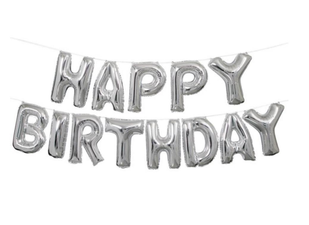 Balloon Banner Kit - Silver Happy Birthday