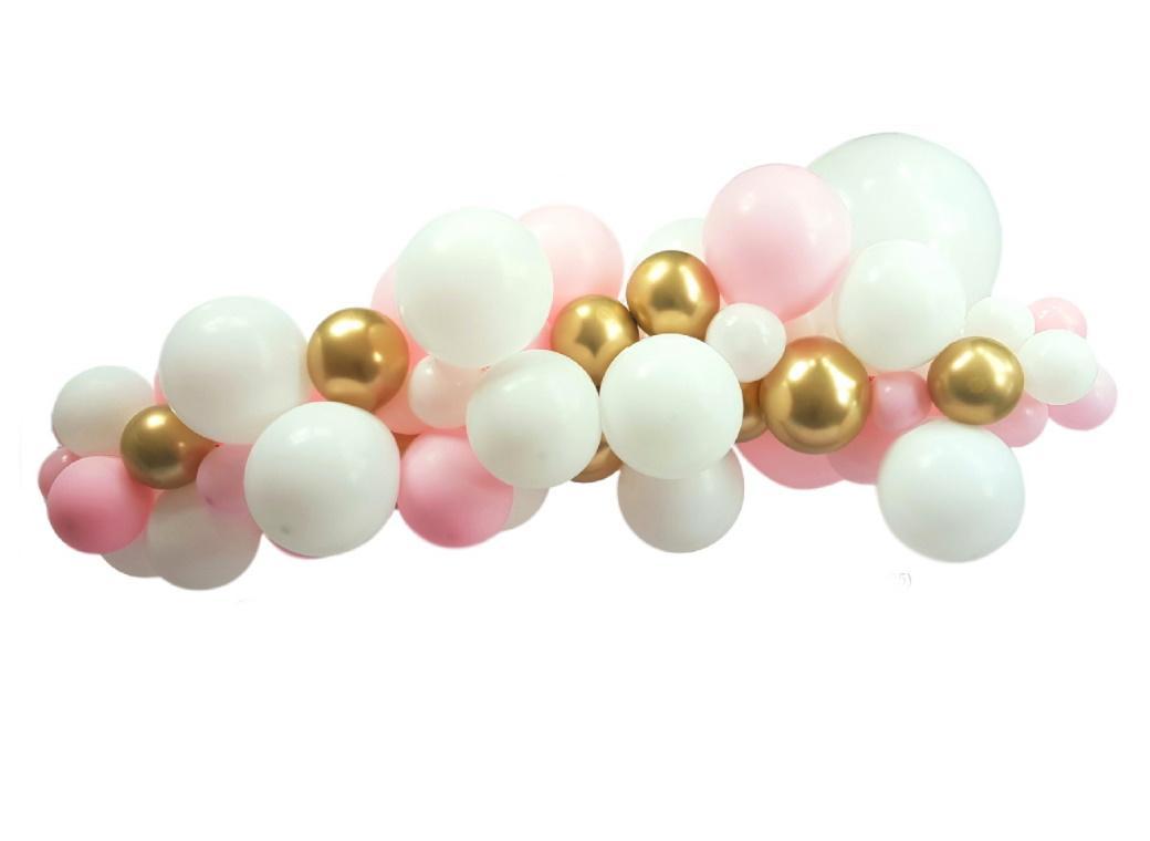 Balloon Garland Kit Pink White Gold