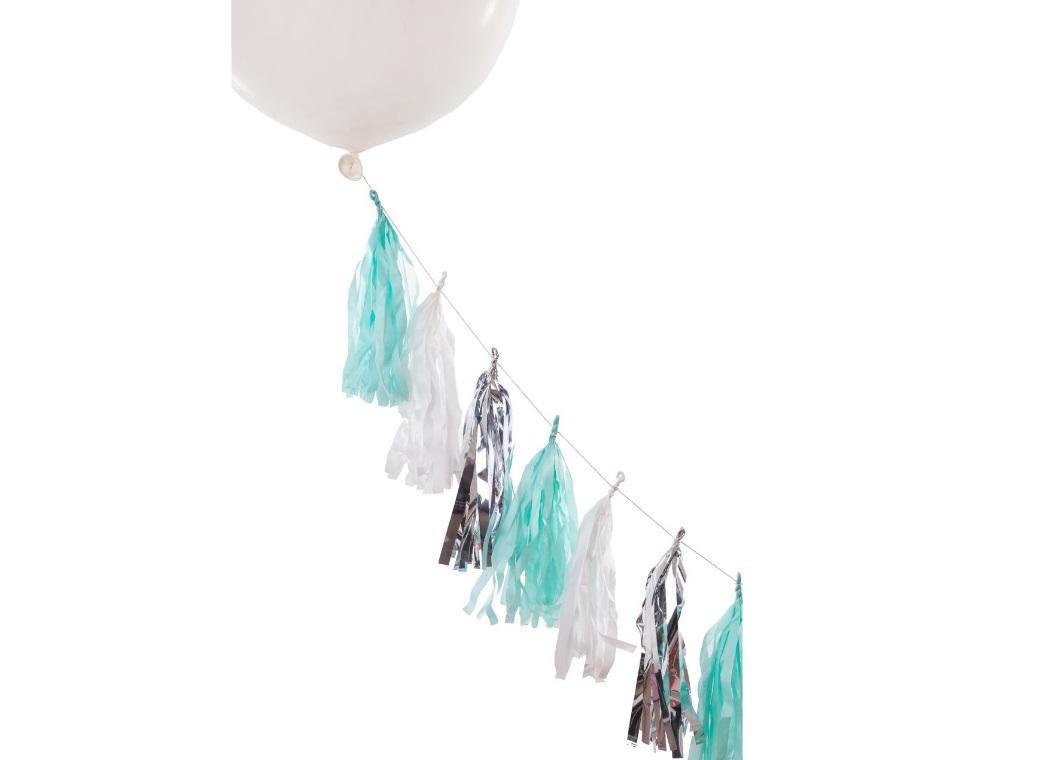 Balloon Tassel Tails - Mint Shimmer