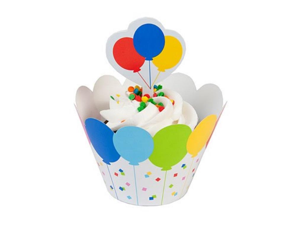 Cupcake Wrappers With Toppers - Balloons  - 12pk
