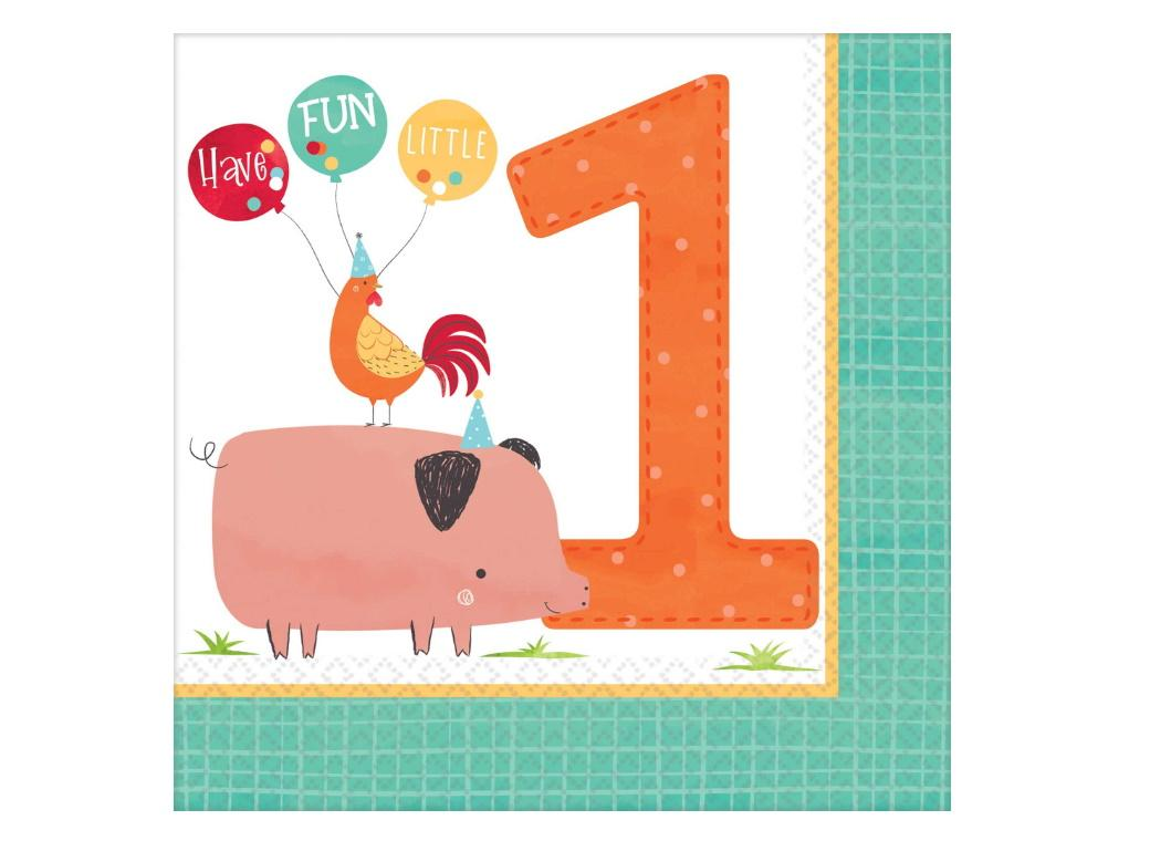 Barnyard Birthday 1st Birthday Lunch Napkins 16pk