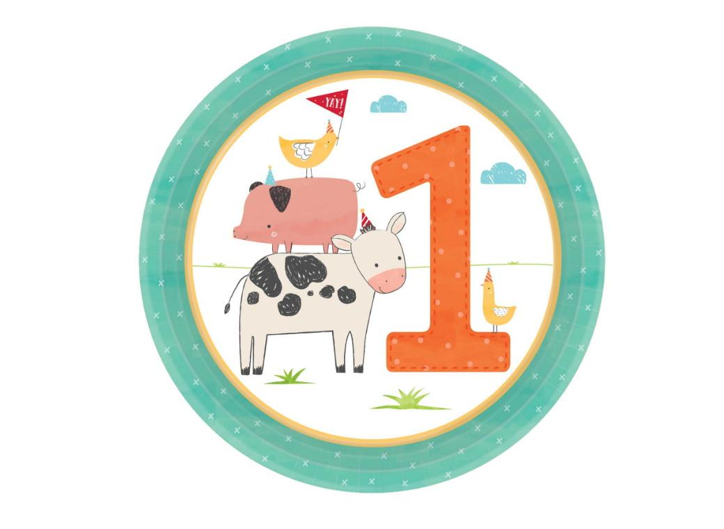 Barnyard Birthday 1st Birthday Lunch Plates 8pk