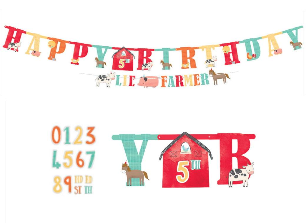 Barnyard Birthday Add An Age Banner & Garland